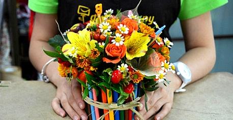 Как составлять букеты из живых цветов для начинающих, магазин цветов в воронеж бытовой техники сток